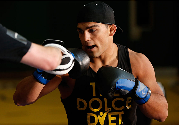 INDIANAPOLIS, IN - AUGUST 26:  Kelvin Gastelum holds an open training session for fans and media at Banker's Life Fieldhouse on August 26, 2013 in Indianapolis, Indiana. (Photo by Josh Hedges/Zuffa LLC/Zuffa LLC via Getty Images)