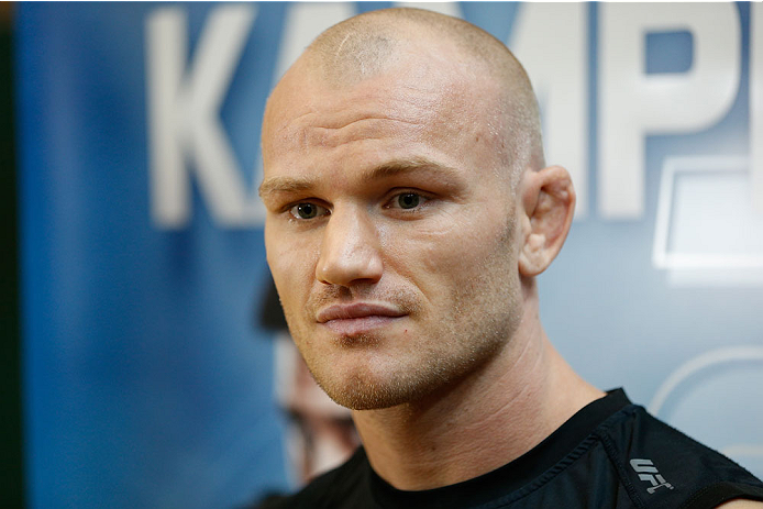 INDIANAPOLIS, IN - AUGUST 26:  Martin Kampmann interacts with media at Banker's Life Fieldhouse on August 26, 2013 in Indianapolis, Indiana. (Photo by Josh Hedges/Zuffa LLC/Zuffa LLC via Getty Images)