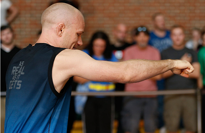 INDIANAPOLIS, IN - AUGUST 26:  Martin Kampmann holds an open training session for fans and media at Banker's Life Fieldhouse on August 26, 2013 in Indianapolis, Indiana. (Photo by Josh Hedges/Zuffa LLC/Zuffa LLC via Getty Images)