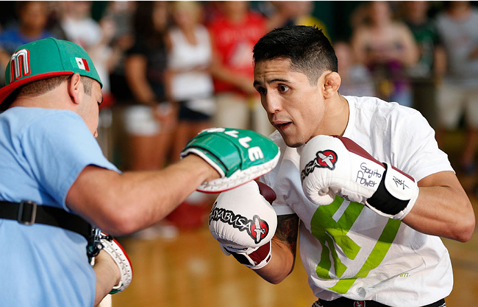 INDIANAPOLIS, IN - AUGUST 26:  Erik Perez holds an open training session for fans and media at Banker's Life Fieldhouse on August 26, 2013 in Indianapolis, Indiana. (Photo by Josh Hedges/Zuffa LLC/Zuffa LLC via Getty Images)