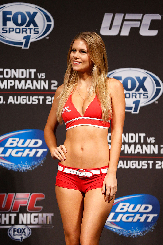 INDIANAPOLIS, IN - AUGUST 27:  UFC Octagon Girl Chrissy Blair stands on stage during the UFC weigh-in event at Bankers Life Fieldhouse on August 27, 2013 in Indianapolis, Indiana. (Photo by Josh Hedges/Zuffa LLC/Zuffa LLC via Getty Images)