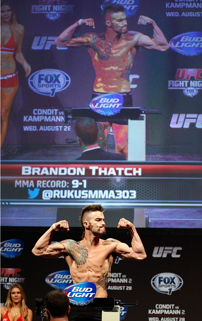 INDIANAPOLIS, IN - AUGUST 27:  Brandon Thatch weighs in during the UFC weigh-in event at Bankers Life Fieldhouse on August 27, 2013 in Indianapolis, Indiana. (Photo by Josh Hedges/Zuffa LLC/Zuffa LLC via Getty Images)