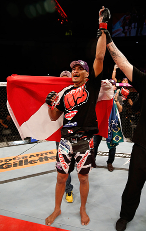 FORTALEZA, BRAZIL - JUNE 08:  Ildemar Alcantara reacts after defeating Leandro Silva in their welterweight fight during the UFC on FUEL TV event at Paulo Sarasate Arena on June 8, 2013 in Fortaleza, Ceara, Brazil.  (Photo by Josh Hedges/Zuffa LLC/Zuffa LL