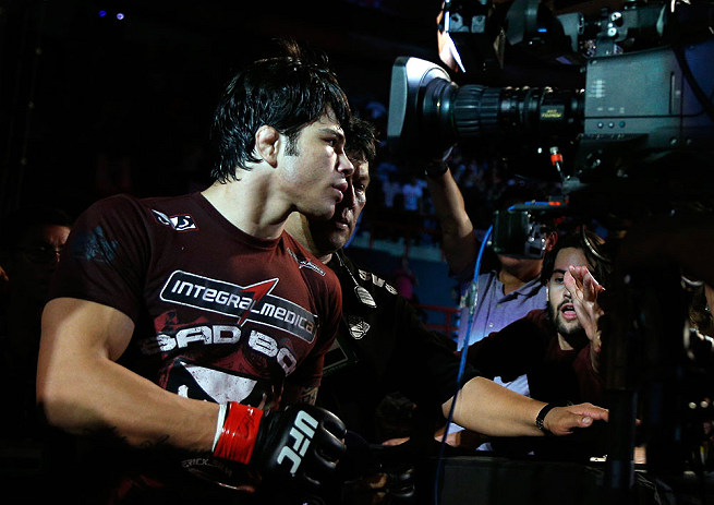 FORTALEZA, BRAZIL - JUNE 08:  Erick Silva enters the arena before his welterweight fight against Jason High during the UFC on FUEL TV event at Paulo Sarasate Arena on June 8, 2013 in Fortaleza, Ceara, Brazil.  (Photo by Josh Hedges/Zuffa LLC/Zuffa LLC via