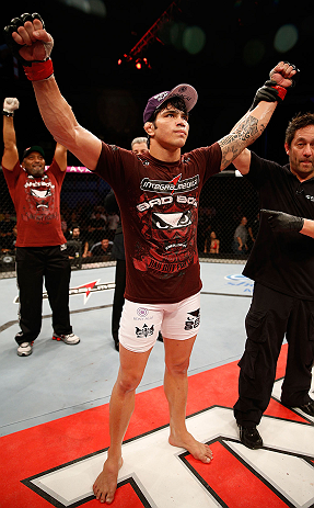 FORTALEZA, BRAZIL - JUNE 08:  Erick Silva reacts after defeating Jason High in their welterweight fight during the UFC on FUEL TV event at Paulo Sarasate Arena on June 8, 2013 in Fortaleza, Ceara, Brazil.  (Photo by Josh Hedges/Zuffa LLC/Zuffa LLC via Get