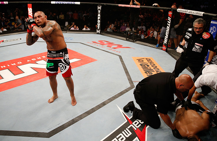 "FORTALEZA, BRAZIL - JUNE 08:  Thiago Silva reacts after knocking out Rafael ""Feijao"" Cavalcante in their light heavyweight fight during the UFC on FUEL TV event at Paulo Sarasate Arena on June 8, 2013 in Fortaleza, Ceara, Brazil.  (Photo by Josh Hedges/Zu"