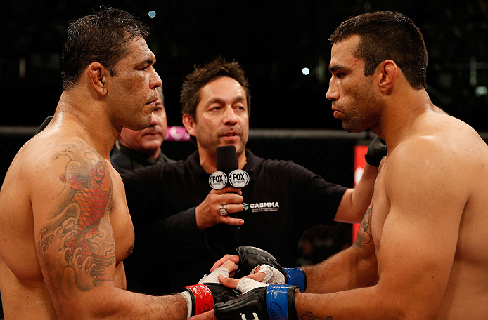 "FORTALEZA, BRAZIL - JUNE 08:  (L-R) Opponents Antonio Rodrigo ""Minotauro"" Nogueira and Fabricio Werdum face off before their heavyweight fight during the UFC on FUEL TV event at Paulo Sarasate Arena on June 8, 2013 in Fortaleza, Ceara, Brazil.  (Photo by"