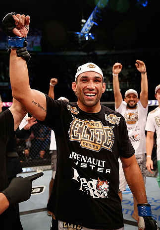 FORTALEZA, BRAZIL - JUNE 08:  Fabricio Werdum reacts after defeating Antonio Rodrigo Nogueira in their heavyweight fight during the UFC on FUEL TV event at Paulo Sarasate Arena on June 8, 2013 in Fortaleza, Ceara, Brazil.  (Photo by Josh Hedges/Zuffa LLC/
