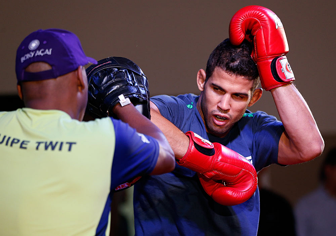 FORTALEZA, BRAZIL - JUNE 06:  Leonardo Santos holds an open training session for media at Centro de Eventos do Ceara on June 6, 2013 in Fortaleza, Ceara, Brazil.  (Photo by Josh Hedges/Zuffa LLC/Zuffa LLC via Getty Images)