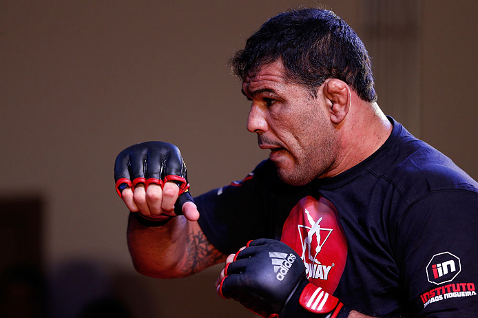 "FORTALEZA, BRAZIL - JUNE 06:  Antonio Rodrigo ""Minotauro"" Nogueira holds an open training session for media at Centro de Eventos do Ceara on June 6, 2013 in Fortaleza, Ceara, Brazil.  (Photo by Josh Hedges/Zuffa LLC/Zuffa LLC via Getty Images)"