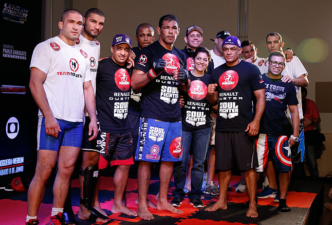 "FORTALEZA, BRAZIL - JUNE 06:  Antonio Rodrigo ""Minotauro"" Nogueira poses with his team after holding an open training session for media at Centro de Eventos do Ceara on June 6, 2013 in Fortaleza, Ceara, Brazil.  (Photo by Josh Hedges/Zuffa LLC/Zuffa LLC v"