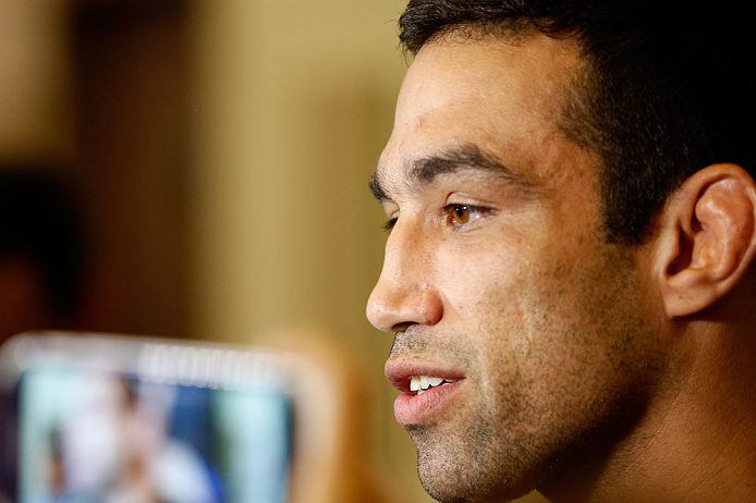 FORTALEZA, BRAZIL - JUNE 06:  Fabricio Werdum interacts with media at Centro de Eventos do Ceara on June 6, 2013 in Fortaleza, Ceara, Brazil.  (Photo by Josh Hedges/Zuffa LLC/Zuffa LLC via Getty Images)