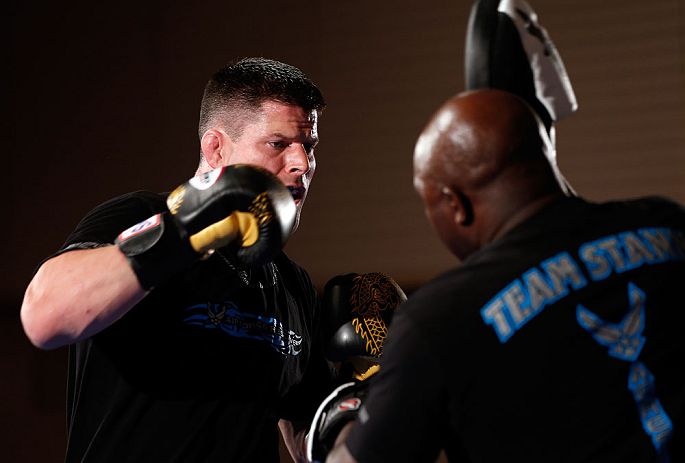 TOKYO, JAPAN - FEBRUARY 28: Brian Stann holds an open training session for media at the Hilton Sjinjuku Hotel on February 28, 2013 in Tokyo, Japan. (Photo by Josh Hedges/Zuffa LLC/Zuffa LLC via Getty Images)