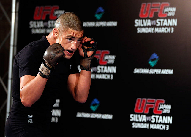 TOKYO, JAPAN - FEBRUARY 28: Diego Sanchez holds an open training session for media at the Hilton Sjinjuku Hotel on February 28, 2013 in Tokyo, Japan. (Photo by Josh Hedges/Zuffa LLC/Zuffa LLC via Getty Images)