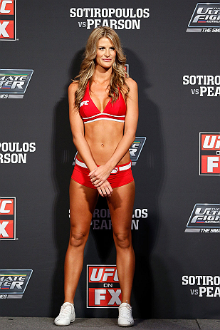 GOLD COAST, AUSTRALIA - DECEMBER 14:  UFC Octagon Girl Kristie McKeon during the UFC on FX weigh in on December 14, 2012 at Gold Coast Convention and Exhibition Centre in Gold Coast, Queensland, Australia.  (Photo by Josh Hedges/Zuffa LLC/Zuffa LLC via Ge