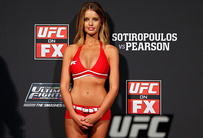 GOLD COAST, AUSTRALIA - DECEMBER 14:  UFC Octagon Girl Kahili Blundell stands on stage during the UFC on FX weigh in on December 14, 2012 at Gold Coast Convention and Exhibition Centre in Gold Coast, Queensland, Australia.  (Photo by Josh Hedges/Zuffa LLC