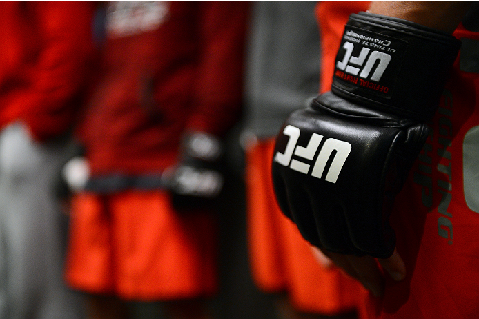 LAS VEGAS, NV - OCTOBER 16:  A detail shot of a UFC glove during filming of season nineteen of The Ultimate Fighter on October 16, 2013 in Las Vegas, Nevada. (Photo by Al Powers/Zuffa LLC/Zuffa LLC via Getty Images) *** Local Caption ***