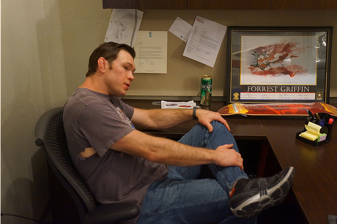 UFC legend Forrest Griffin in his actual office during his interview with UFC.com.