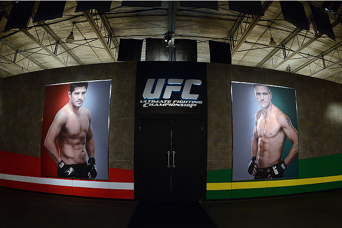 LACHUTE, CANADA - NOVEMBER 5:  A general view of the gym art prior to Team Australia fighter Zein Saliba taking on Team Canada fighter Elias Theodorou in their middleweight bout during filming of The Ultimate Fighter Nations television series on November