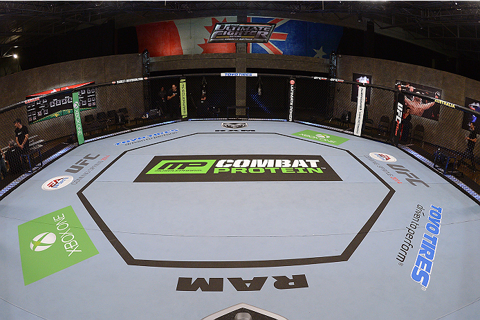 LACHUTE, CANADA - NOVEMBER 5:  A general view of the Octagon prior to Team Australia fighter Zein Saliba taking on Team Canada fighter Elias Theodorou in their middleweight bout during filming of The Ultimate Fighter Nations television series on November