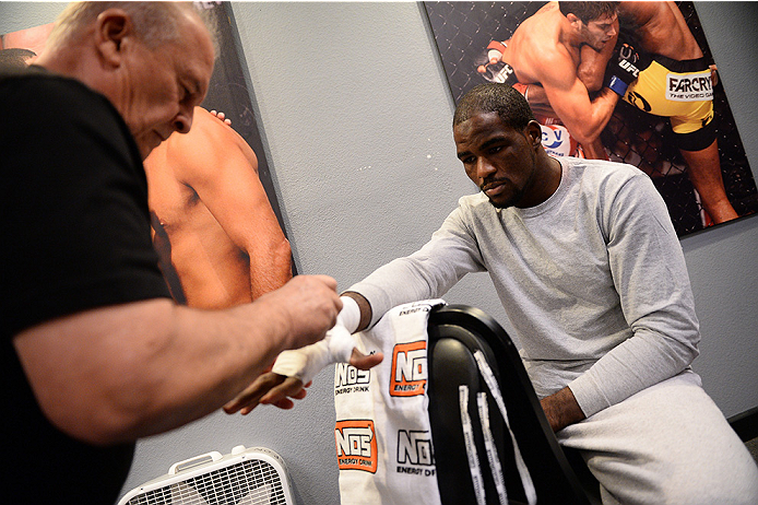 LAS VEGAS, NV - NOVEMBER 5:  Team Edgar fighter Corey Anderson gets his hands wrapped in the locker room before facing team Penn fighter Josh Clark in their preliminary fight during filming of season nineteen of The Ultimate Fighter on November 5, 2013 in