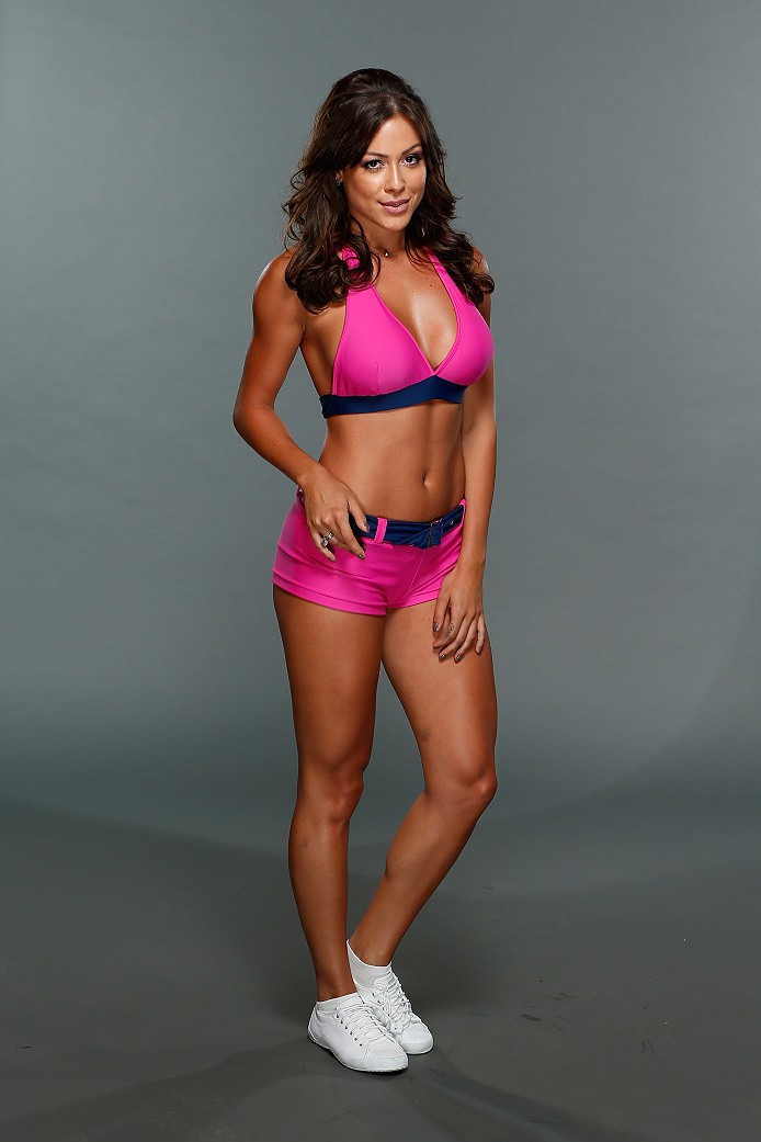 SAO PAULO, BRAZIL - JANUARY 14:  UFC Octagon Girl candidate Ana Cecilia poses for a portrait during media day for season three of The Ultimate Fighter Brazil on January 14, 2014 in Sao Paulo, Brazil. (Photo by Josh Hedges/Zuffa LLC/Zuffa LLC via Getty Ima
