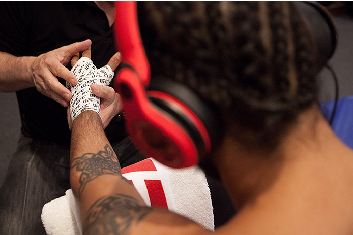 LAS VEGAS, NV - JUNE 10:  Team Velasquez fighter Marco Beltran gets his hands wrapped before facing team Werdum fighter Guido Cannetti in their preliminary fight during filming of The Ultimate Fighter Latin America on June 10, 2014 in Las Vegas, Nevada. (