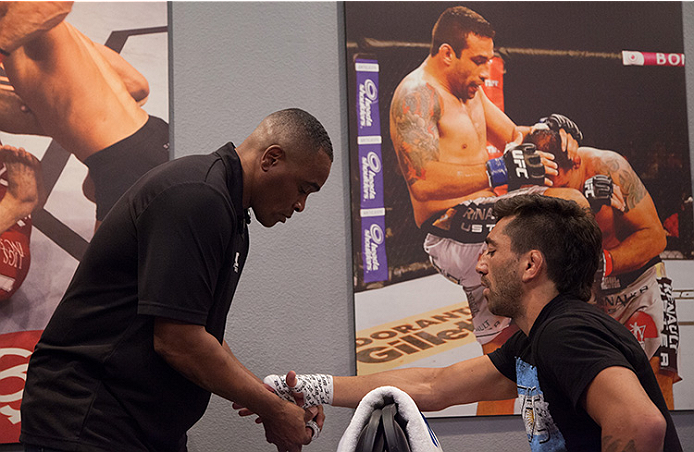 LAS VEGAS, NV - JUNE 10:  Team Werdum fighter Guido Cannetti gets his hands wrapped before facing team Velasquez fighter Marco Beltran in their preliminary fight during filming of The Ultimate Fighter Latin America on June 10, 2014 in Las Vegas, Nevada. (