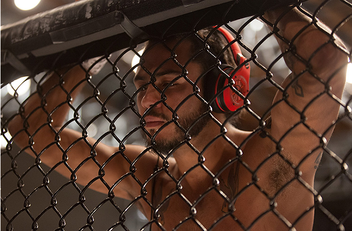 LAS VEGAS, NV - JUNE 10:  Team Velasquez fighter Marco Beltran warms up before facing team Werdum fighter Guido Cannetti in their preliminary fight during filming of The Ultimate Fighter Latin America on June 10, 2014 in Las Vegas, Nevada. (Photo by Brand