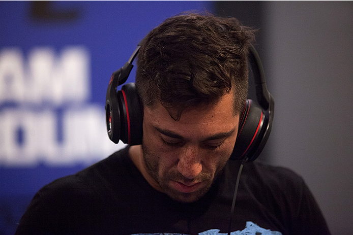 LAS VEGAS, NV - JUNE 10:  Team Werdum fighter Guido Cannetti warms up before facing team Velasquez fighter Marco Beltran in their preliminary fight during filming of The Ultimate Fighter Latin America on June 10, 2014 in Las Vegas, Nevada. (Photo by Brand