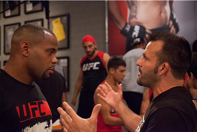 LAS VEGAS, NV - JUNE 10:  Team Valasquez assistant coach Daniel Cormier argues with Team Werdum's assistant coach after the controversial fight between Team Velasquez fighter Marco Beltran and team Werdum fighter Guido Cannetti in their preliminary fight