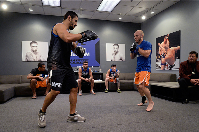 LAS VEGAS, NV - MAY 19:  Team Werdum fighter Bentley Syler warms up before facing team Velasquez fighter Jose Quionez in their preliminary fight during filming of The Ultimate Fighter Latin America on May 19, 2014 in Las Vegas, Nevada. (Photo by Jeff Bott