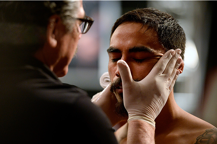 LAS VEGAS, NV - MAY 19:  Team Velasquez fighter Jose Quionez prepares to enter the octagon before facing team Werdum fighter Bentley Syler in their preliminary fight during filming of The Ultimate Fighter Latin America on May 19, 2014 in Las Vegas, Nevada