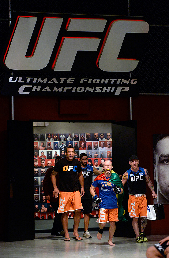 LAS VEGAS, NV - MAY 19:  Team Werdum fighter Bentley Syler prepares to enter the octagon before facing team Velasquez fighter Jose Quionez in their preliminary fight during filming of The Ultimate Fighter Latin America on May 19, 2014 in Las Vegas, Nevada