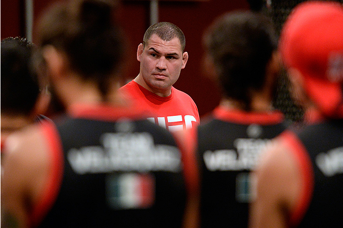 LAS VEGAS, NV - MAY 19:  Head Coach Cain Velasquez prepares to choose the fighters for the next fight during filming of The Ultimate Fighter Latin America on May 19, 2014 in Las Vegas, Nevada. (Photo by Jeff Bottari/Zuffa LLC/Zuffa LLC via Getty Images) *