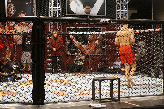 Matt Van Buren circles the Octagon before his bout against Chris Fields.