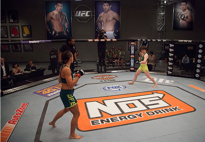LAS VEGAS, NV - AUGUST 5:  (L-R) Team Pettis fighter Jessica Penne prepares to face team Pettis fighter Aisling Daly during filming of season twenty of The Ultimate Fighter on August 5, 2014 in Las Vegas, Nevada. (Photo by Brandon Magnus/Zuffa LLC/Zuffa L