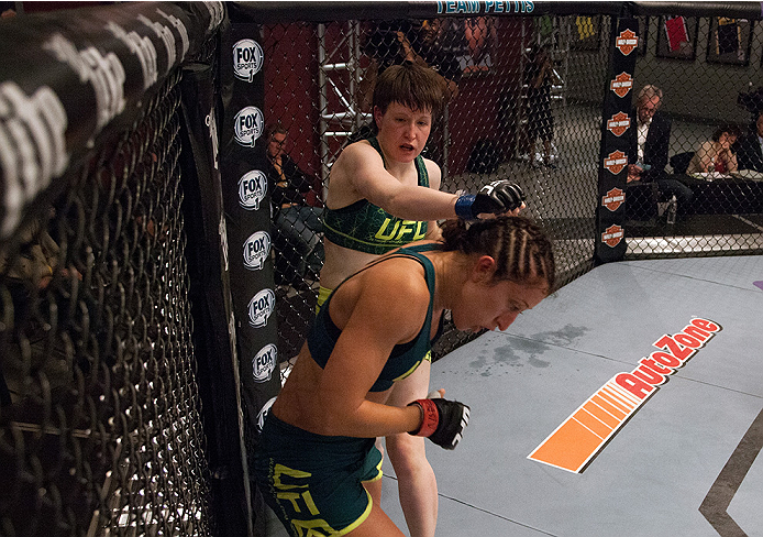 LAS VEGAS, NV - AUGUST 5:  (L-R) Team Pettis fighter Aisling Daly punches team Pettis fighter Jessica Penne during filming of season twenty of The Ultimate Fighter on August 5, 2014 in Las Vegas, Nevada. (Photo by Brandon Magnus/Zuffa LLC/Zuffa LLC via Ge