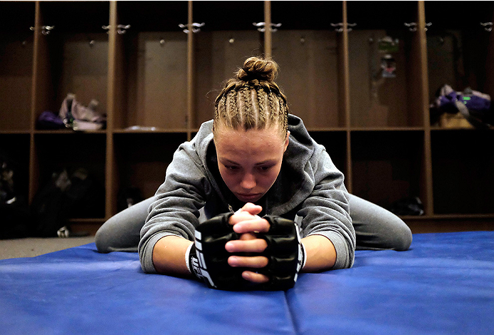 LAS VEGAS, NV - AUGUST 14:  Team Melendez fighter Rose Namajunas warms up before facing team Pettis fighter Randa Markos during filming of season twenty of The Ultimate Fighter on August 14, 2014 in Las Vegas, Nevada. (Photo by Brandon Magnus/Zuffa LLC/Zu