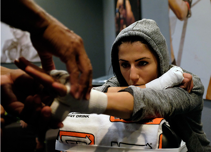 LAS VEGAS, NV - AUGUST 14:  Team Pettis fighter Randa Markos gets her hands wrapped before facing team Melendez fighter Rose Namajunas during filming of season twenty of The Ultimate Fighter on August 14, 2014 in Las Vegas, Nevada. (Photo by Brandon Magnu