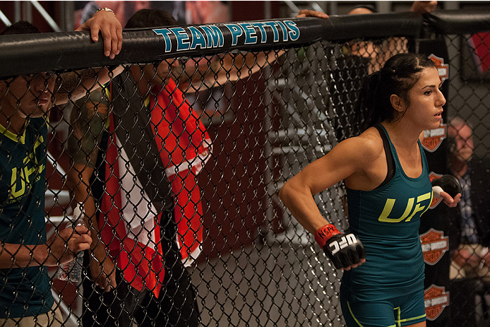 LAS VEGAS, NV - AUGUST 14:  Team Pettis fighter Randa Markos enters the Octagon before facing team Melendez fighter Rose Namajunas during filming of season twenty of The Ultimate Fighter on August 14, 2014 in Las Vegas, Nevada. (Photo by Brandon Magnus/Zu