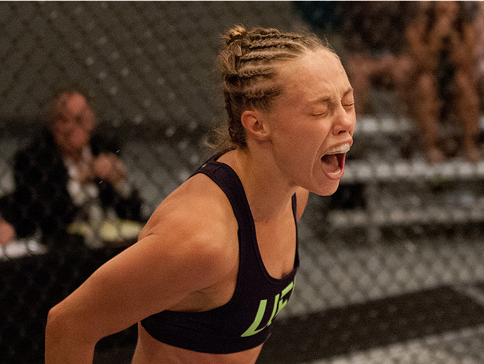 LAS VEGAS, NV - AUGUST 14:  Team Melendez fighter Rose Namajunas reacts after submitting team Pettis fighter Randa Markos during filming of season twenty of The Ultimate Fighter on August 14, 2014 in Las Vegas, Nevada. (Photo by Brandon Magnus/Zuffa LLC/Z