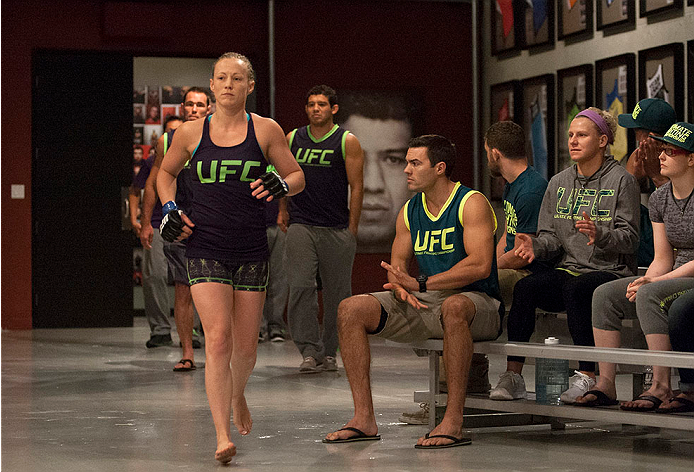LAS VEGAS, NV - JULY 15:  Team Melendez fighter Lisa Ellis prepares to enter the Octagon before facing team Pettis fighter Jessica Penne during filming of season twenty of The Ultimate Fighter on July 15, 2014 in Las Vegas, Nevada. (Photo by Brandon Magnu