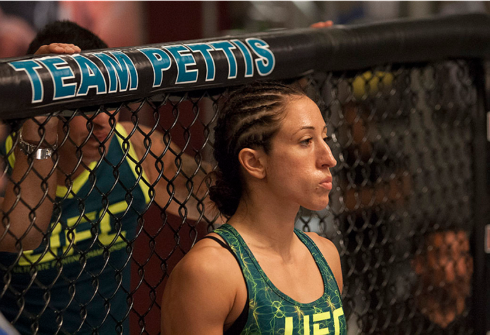 LAS VEGAS, NV - JULY 15:  Team Pettis fighter Jessica Penne enters the Octagon before facing team Melendez fighter Lisa Ellis during filming of season twenty of The Ultimate Fighter on July 15, 2014 in Las Vegas, Nevada. (Photo by Brandon Magnus/Zuffa LLC