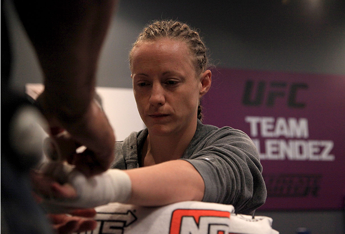 LAS VEGAS, NV - JULY 15:  Team Melendez fighter Lisa Ellis gets her hands wrapped before facing team Pettis fighter Jessica Penne during filming of season twenty of The Ultimate Fighter on July 15, 2014 in Las Vegas, Nevada. (Photo by Brandon Magnus/Zuffa
