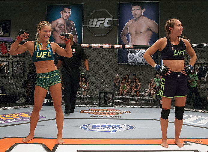 LAS VEGAS, NV - JULY 18:  Team Pettis fighter Felice Herrig celebrates her submission victory over team Melendez fighter Heather Jo Clark during filming of season twenty of The Ultimate Fighter on July 18, 2014 in Las Vegas, Nevada. (Photo by Brandon Magn