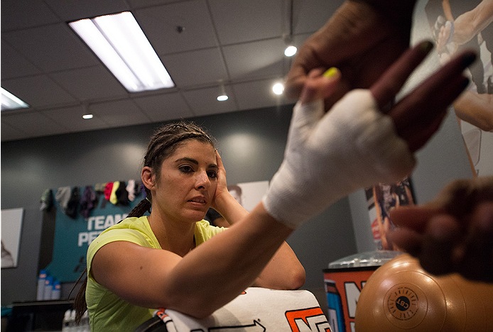 LAS VEGAS, NV - JULY 28:  Team Pettis fighter Alex Chambers gets her hands wrapped before facing team Melendez fighter Rose Namjunas during filming of season twenty of The Ultimate Fighter on July 28, 2014 in Las Vegas, Nevada. (Photo by Brandon Magnus/Zu
