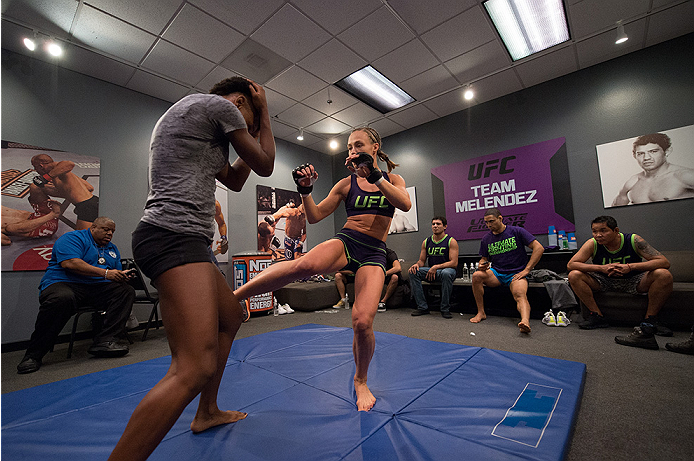 LAS VEGAS, NV - JULY 28:  Team Melendez fighter Rose Namjunas warms up before facing team Pettis fighter Alex Chambers during filming of season twenty of The Ultimate Fighter on July 28, 2014 in Las Vegas, Nevada. (Photo by Brandon Magnus/Zuffa LLC/Zuffa