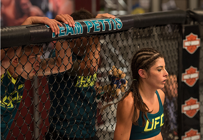 LAS VEGAS, NV - JULY 28:  Team Pettis fighter Alex Chambers enters the Octagon before facing team Melendez fighter Rose Namjunas during filming of season twenty of The Ultimate Fighter on July 28, 2014 in Las Vegas, Nevada. (Photo by Brandon Magnus/Zuffa