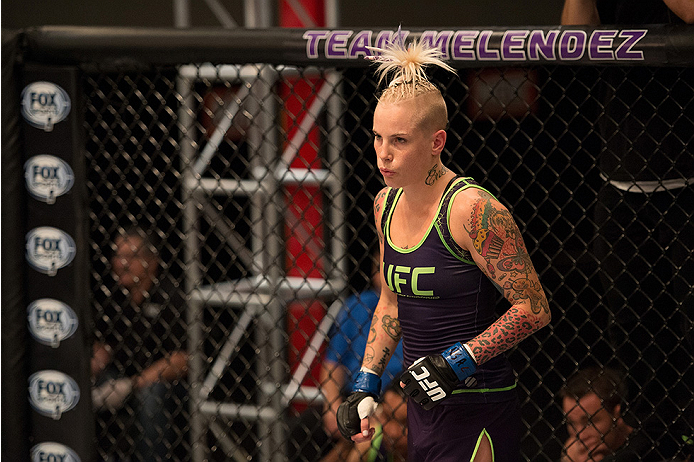 LAS VEGAS, NV - JULY 28:  Team Melendez fighter Bec Rawlings enters the Octagon before facing team Pettis fighter Tecia Torres during filming of season twenty of The Ultimate Fighter on July 28, 2014 in Las Vegas, Nevada. (Photo by Brandon Magnus/Zuffa LL